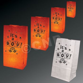 It's a Boy Luminary Bags - 50 Pack