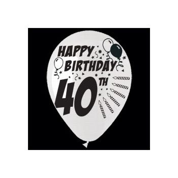 40th Birthday Balloons - 14 Inch, 25 Pack