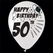 "50th 14"" Birthday Balloons -25 Per Unit"