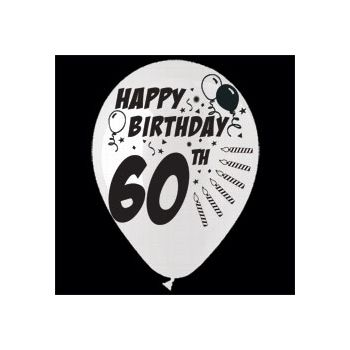 60th Birthday Balloons - 14 Inch, 25 Pack