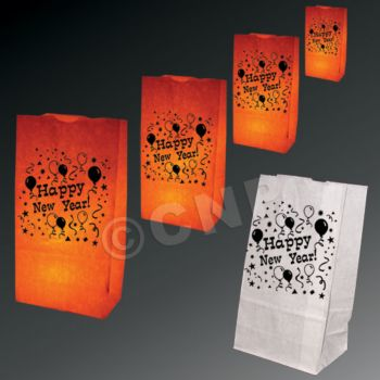 Happy New Year Luminary Bags - 50 Pack