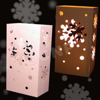 White Snowflake Cutout Luminary Bag Inserts - 50 Pack