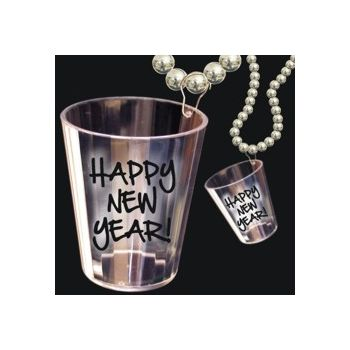 Happy New Year Shot Glass Bead Neclace - 33 Inch