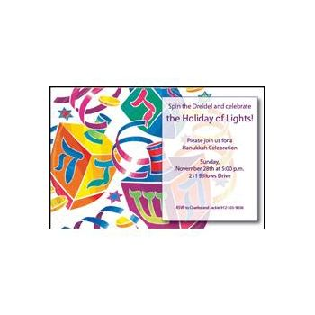 Watercolor Dreidels Hanukkah Party Invitations