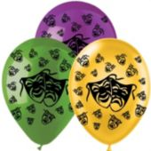 "Mardi Gras Mask Latex 14"" Balloons-25 Per Unit"