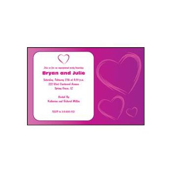 Purple Hearts Invitations