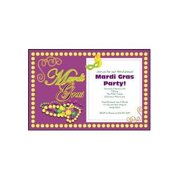 Mardi Gras Beads Custom Invitations