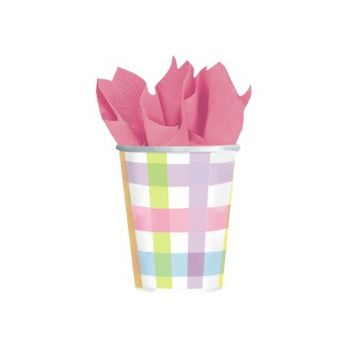 PASTEL GINGHAM 9 oz. CUPS