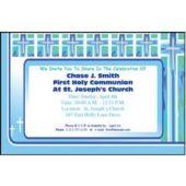 Joyous Cross Blue  Personalized Invitations