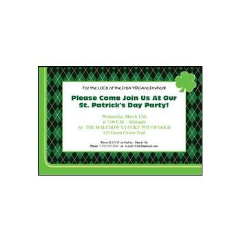 St Patrick's Day Party Personalized Invitations