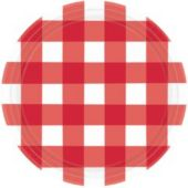 "Red Gingham 10 1/2"" Plates - 8 Pack"