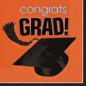 Orange Graduation Lunch Napkins - 36 Per Unit