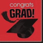 Red Graduation Lunch Napkins - 36 Pack