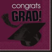 Maroon Graduation Lunch Napkins - 36 Pack