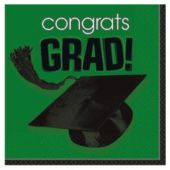 Green Graduation Beverage Napkins - 36 Pack