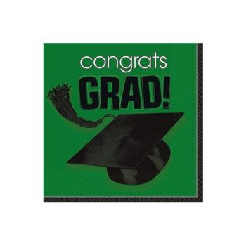 Green Graduation Beverage Napkins