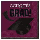 Maroon Graduation Beverage Napkins - 36 Pack