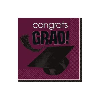Maroon Graduation Beverage Napkins