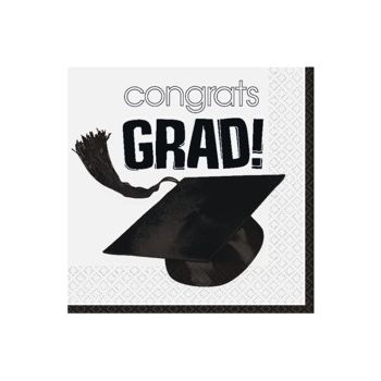White Graduation Beverage Napkin