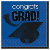 Blue Graduation Beverage Napkins - 36 Per Unit