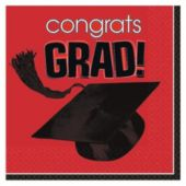 Red Graduation Beverage Napkins - 36 Pack
