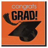 Orange Graduation Beverage Napkins - 36 Pack