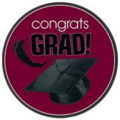 """Maroon Graduation 7"""" Plates - 18 Pack"""