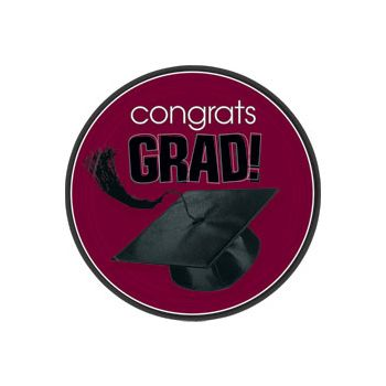 "Maroon Graduation 7"" Plates"