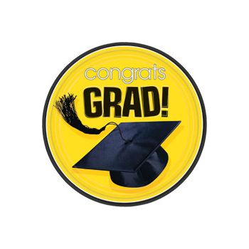 "Yellow Graduation 7"" Plates"