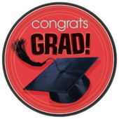 "Red Graduation 7"" Plates - 18 Pack"
