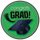 """Green Graduation 7"""" Plates - 18 Per Unit"""