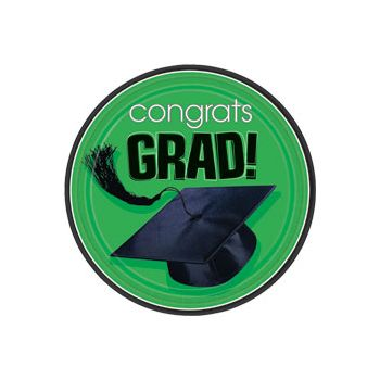 "Green Graduation 7"" Plates"
