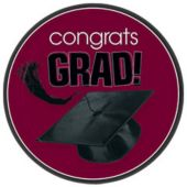 "Maroon Graduation 9"" Plates - 18 Per Unit"