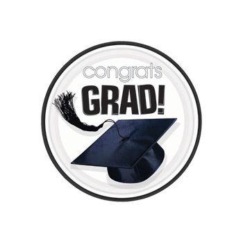 "White Graduation 9"" Plates"