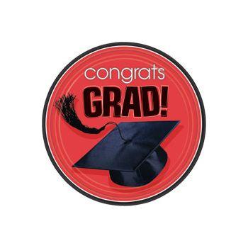 "Red Graduation 9"" Plates"
