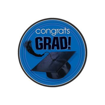 "Blue Graduation 9"" Plates"
