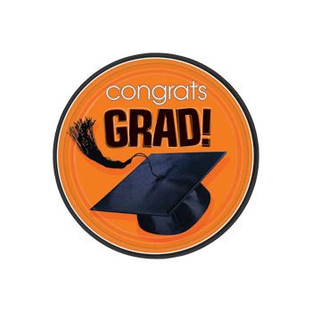 "Orange Graduation 9"" Plates"