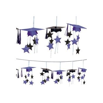 Purple Graduation 3D Garland