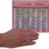Peace Bling Rings-36 Pack