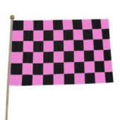 Pink Checkered Flags - 12 Pack