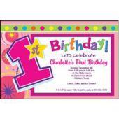 Girls 1St Birthday Personalized Invitations