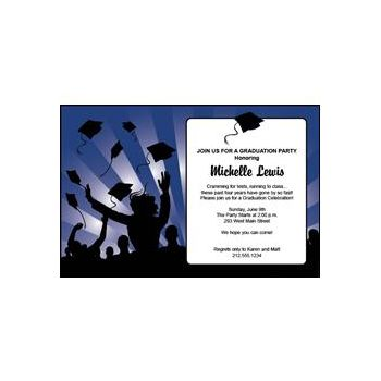 Blue Graduation Invitations