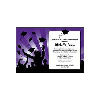 Graduation in Purple Personalized Invitations