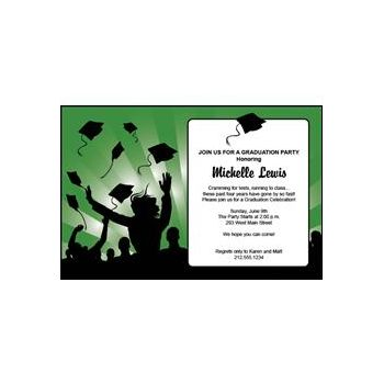 Graduation in Green Personalized Invitations