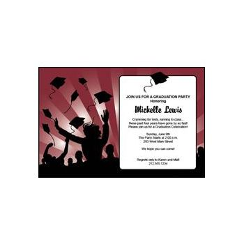 Graduation in Maroon Personalized Invitations