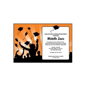 Graduation in Orange Personalized Invitations