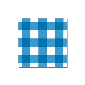 BLUE GINGHAM BEVERAGE NAPKINS