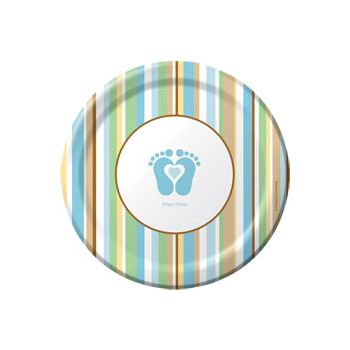 "BLUE TINY TOES 7"" DESSERT PLATES"