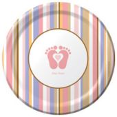 """Pink Tiny Toes 7"""" Plates"""