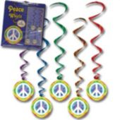 Peace Sign Metallic Whirl Decorations-5 Pack
